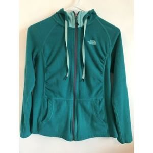 North Face Teal Zip Hoodie Fleece Size Small/P